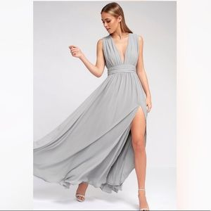 Lulus Heavenly Hues Light Grey Maxi Dress